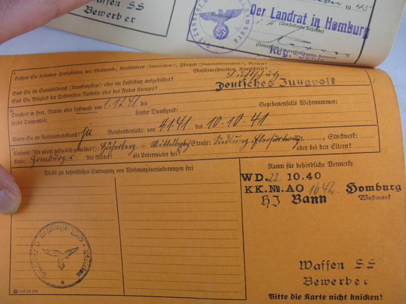 Fiche de candidature pour la Waffen SS 51680c